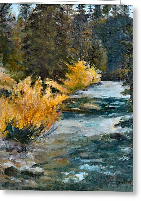 Mountain River Greeting Card by Rita Bentley