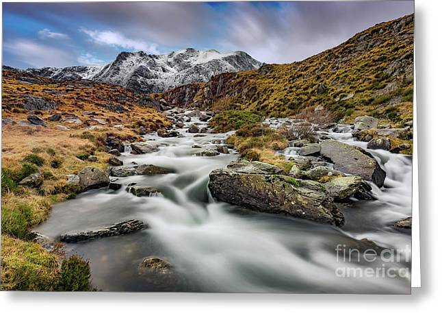 Mountain River Snowdonia  Greeting Card by Adrian Evans