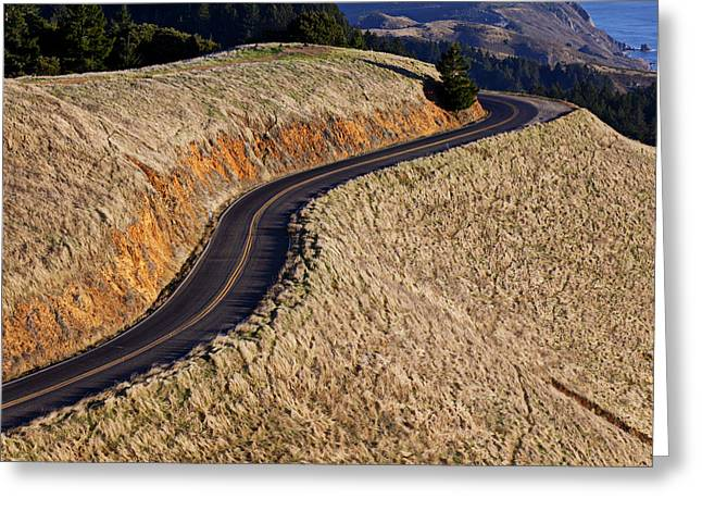Roadway Greeting Cards - Mountain Road Greeting Card by Garry Gay