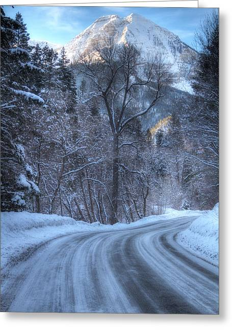 Snowy Mountain Loop Greeting Cards - Mountain Road in Winter Greeting Card by Utah Images