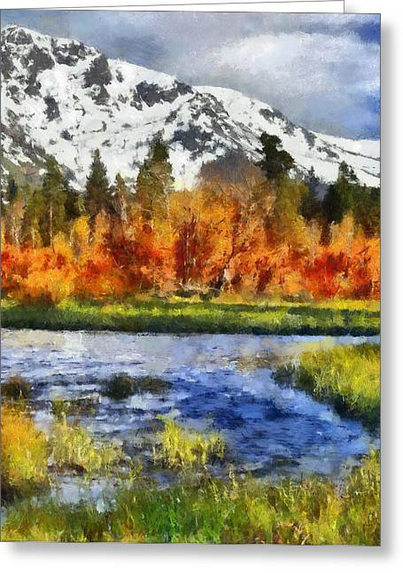 Snow Capped Greeting Cards - Mountain Greeting Card by Russ Harris