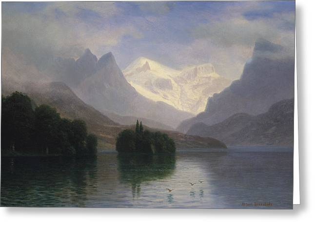Mountain Scene Greeting Card by Albert Bierstadt