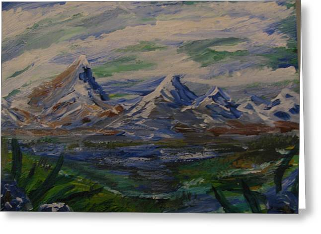 Mountain Scene Greeting Card by Dennis Poyant