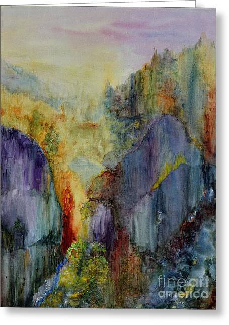 Greeting Card featuring the painting Mountain Scene by Karen Fleschler