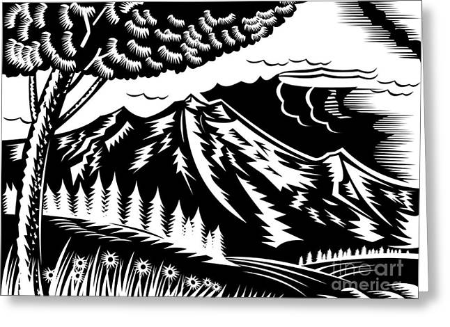 Mountain Scene Woodcut Greeting Card by Aloysius Patrimonio