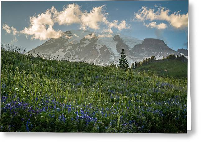 Mountain Side Greeting Card by Kristopher Schoenleber