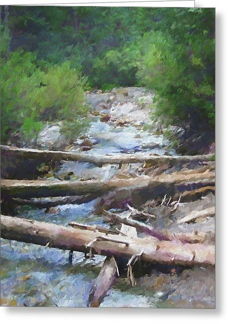 Greeting Card featuring the digital art Mountain Stream by David King