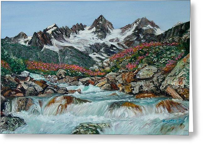 Greeting Card featuring the painting Mountain Stream by Quwatha Valentine