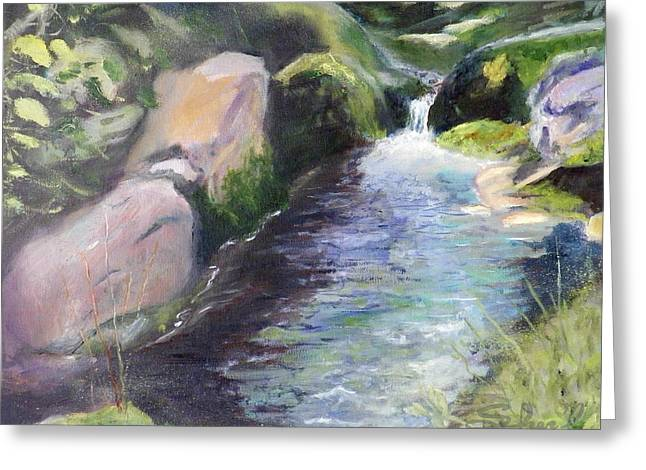 Greeting Card featuring the painting mountain Stream by Sherril Porter