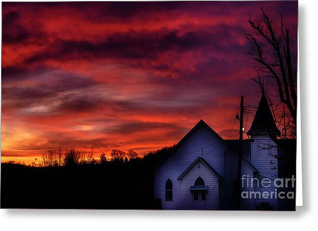 Greeting Card featuring the photograph Mountain Sunrise And Church by Thomas R Fletcher