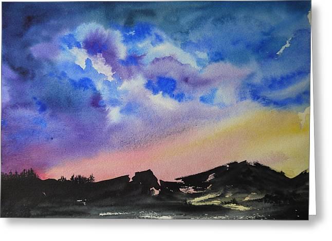 Mountain Sunset Greeting Card by Bitten Kari