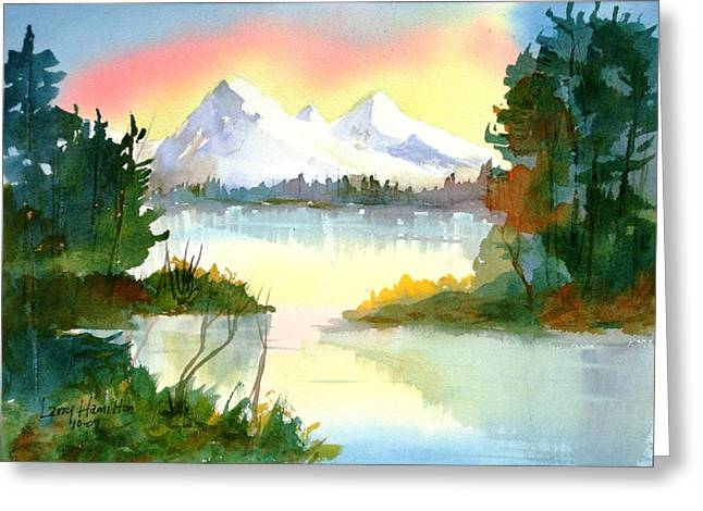 Mountain Sunset Greeting Card by Larry Hamilton