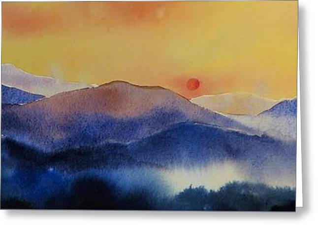 Mountain Sunset Greeting Card by Megan Richard