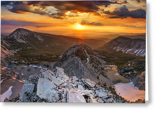 Mountain Top Sunrise Greeting Card by Leland D Howard