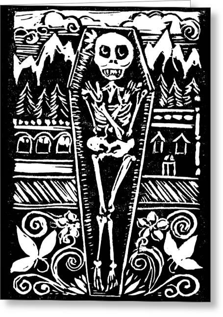 Mountain Town Skeleton Greeting Card