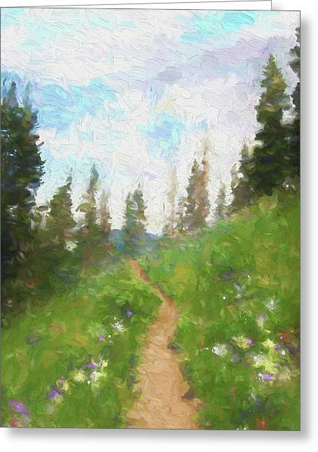Greeting Card featuring the digital art Mountain Trail by David King