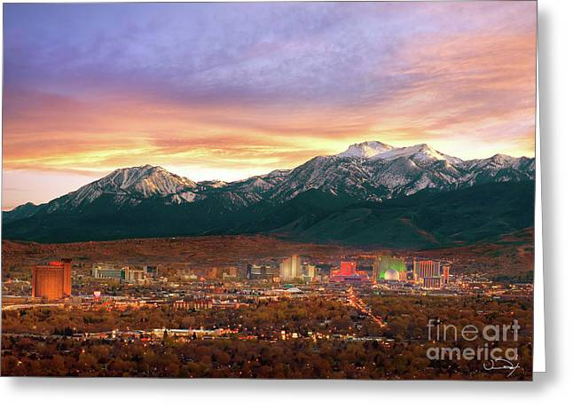Mountain Twilight Of Reno Nevada Greeting Card by Vance Fox