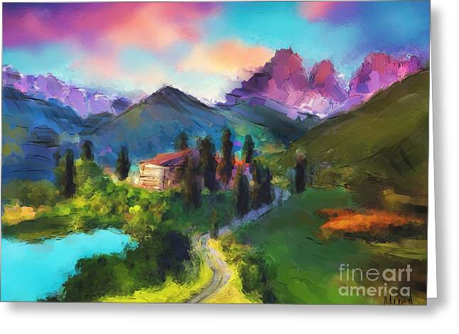 Mountain Valley Greeting Card by Melanie D