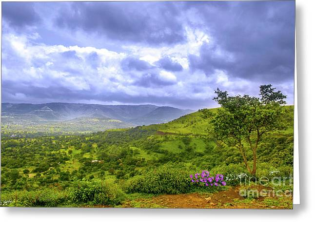 Greeting Card featuring the photograph Mountain View by Charuhas Images