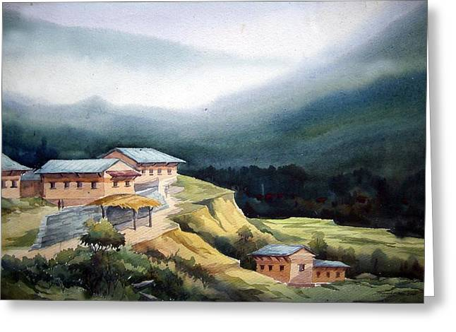 Mountain Village From Top View Greeting Card by Samiran Sarkar