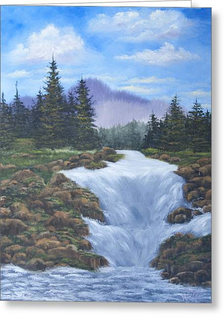 Mountain Waterfall Greeting Card by Thea Wolff