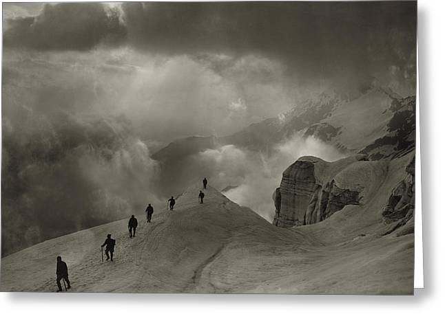 Mountaineers On Campo Tencia Greeting Card by Jean Gaberell