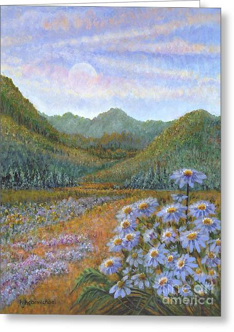 Mountains And Asters Greeting Card by Holly Carmichael