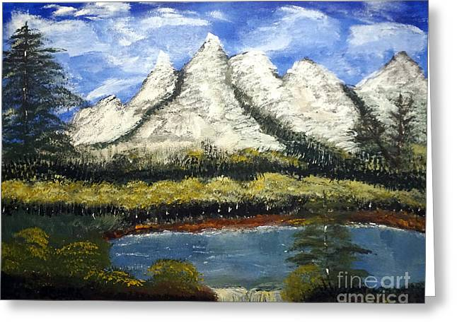 Mountains And Evergreens Greeting Card
