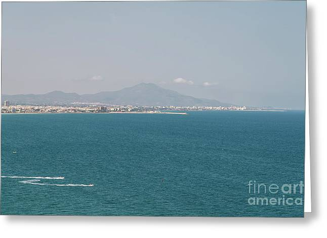 Mountains And Mediterranean Sea Aerial View In Spain Greeting Card