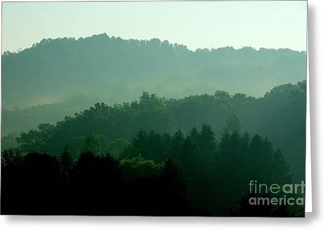 Mountains And Mist Greeting Card by Thomas R Fletcher