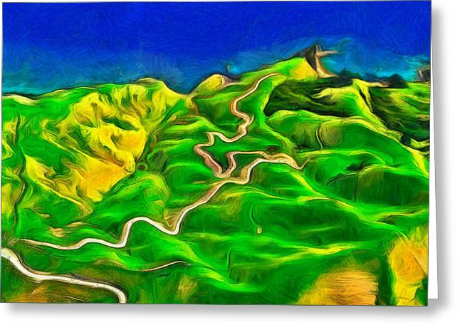 Mountains And Ocean - Pa Greeting Card by Leonardo Digenio