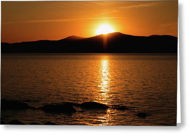 Mountains And River At Sunset Greeting Card