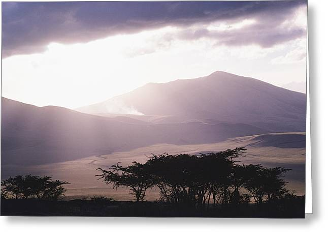 Mountains And Smoke, Ngorongoro Crater Greeting Card by Skip Brown