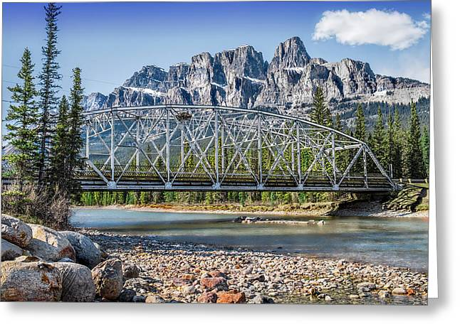 Mountains Bridge And River- By Carol Cottrell Greeting Card