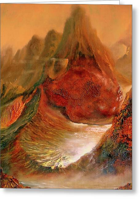 Mountains Fire Greeting Card