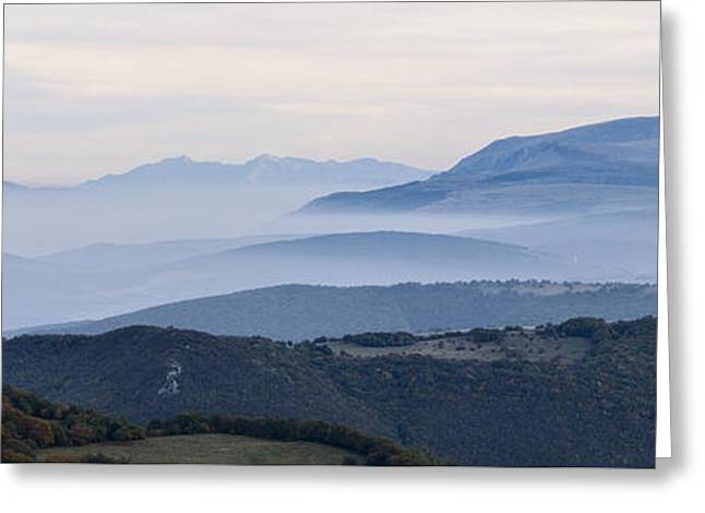 Mountains In The Fog Of Mount San Vicino, Italy Greeting Card