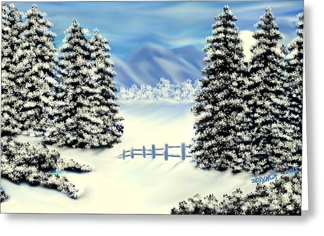 Mountains In The Winter Greeting Card by Debra Lynch