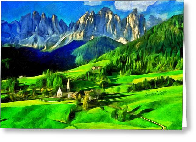 Mountains Greeting Card by Leonardo Digenio