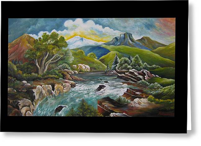 Mountain's River Greeting Card by Netka Dimoska