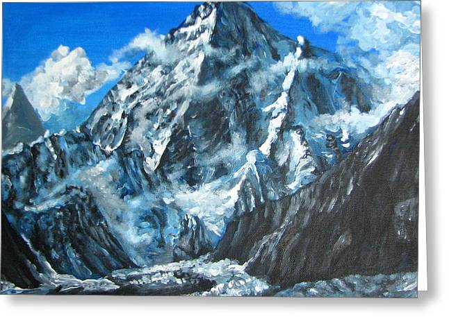 Mountains View Landscape Acrylic Painting Greeting Card by Natalja Picugina