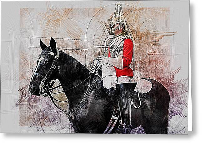 Mounted Household Cavalry Soldier On Guard Duty In Whitehall Lon Greeting Card