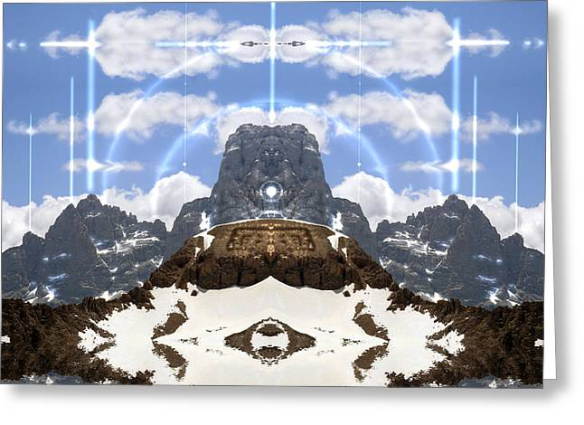 Mountian In The Wolf Shaman Greeting Card
