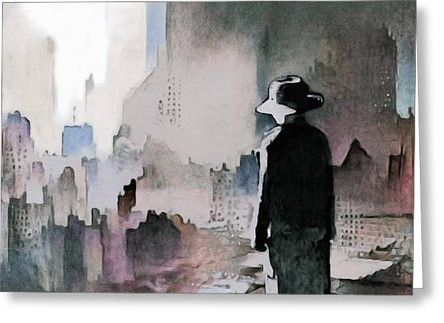 Greeting Card featuring the painting Mourning The American Dream by Susan Maxwell Schmidt