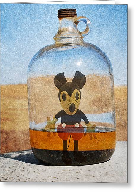 Conversing Greeting Cards - Mouse In A Bottle  Greeting Card by Jerry Cordeiro