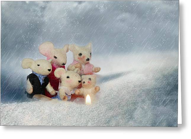 Mouse In Snow Greeting Card by Heike Hultsch