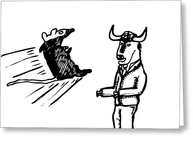 Mouse Vs. Buffalo Greeting Card by Karl Addison
