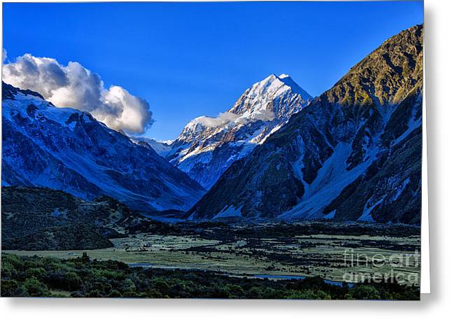 Moutain Valley Greeting Card by Rick Bragan