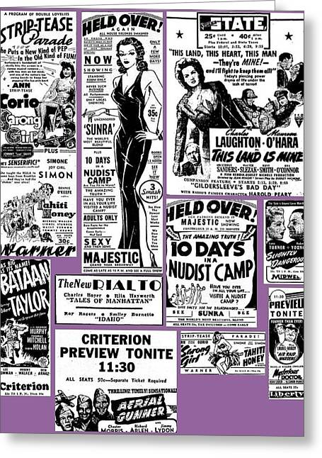Movie Ads In New York Newspaper 1943 Color Added 2016 Greeting Card