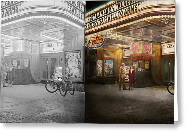 Movie - Double Feature 1942 - Side By Side Greeting Card by Mike Savad