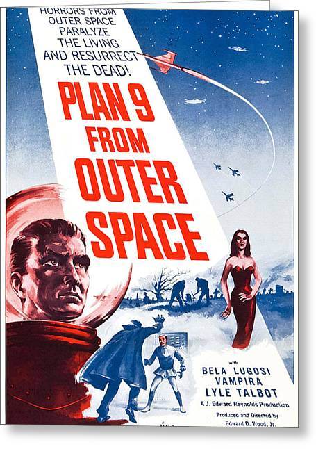 Movie Poster For Plan 9 From Outer Space  Greeting Card by Celestial Images